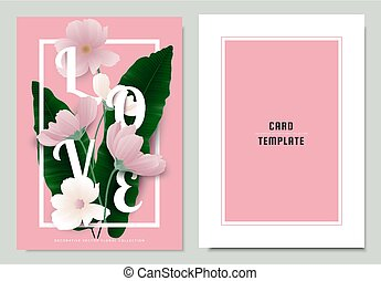 Greeting/invitation card template design, green Asplenium nidus, Birds Nest Fern with cosmos flowers on pink background