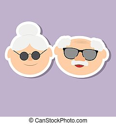 Greetings card on grandparents day with and face of grandfather and grandmother.