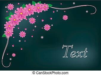 Greetings card with pink gerberas, vector illustration made with mesh