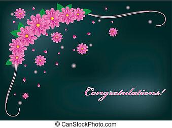 Greetings card with pink gerberas,