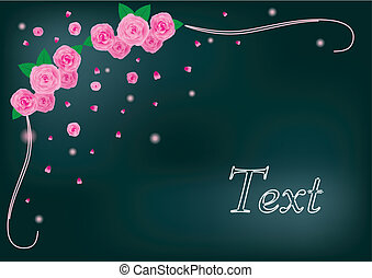 Greetings card with pink roses, vector illustration made with mesh