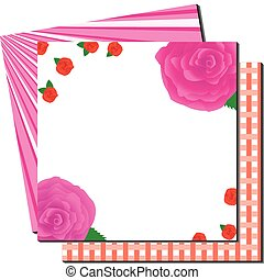 Greetings card with roses and backgrounds, vector illustration