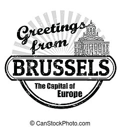 Greetings from Brussels stamp