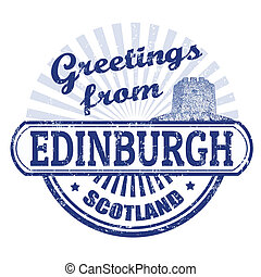 Greetings from Edinburgh stamp - Grunge rubber stamp with...
