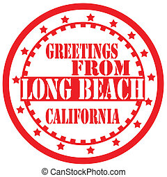 Red label with text Greetings From Long Beach, vector illustration