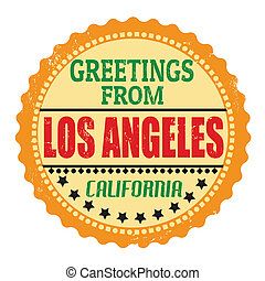 Greetings from Los Angeles label - Label or rubber stamp...