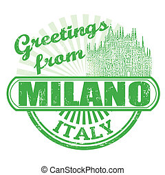 Greetings from Milano stamp