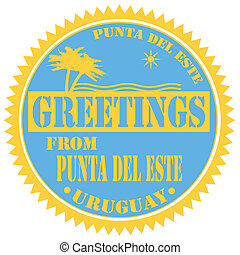 Greetings From Punta Del Este-label - Label with text...