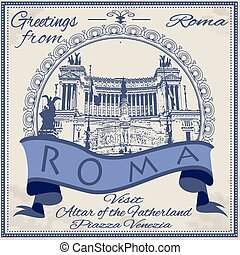 greetings from roma background with vector illustration