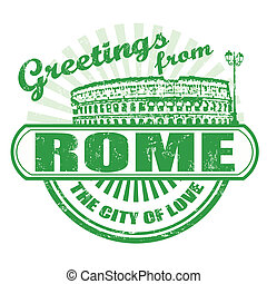 Greetings from Rome stamp - Grunge rubber stamp with text...