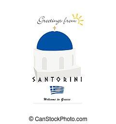 greetings from santorini greek island illustration