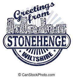 Greetings from Stonehenge stamp - Grunge rubber stamp with...