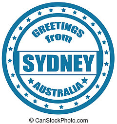 Greetings from Sydney-label - Label with text Greetings from...