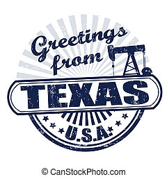 Greetings from Texas stamp - Grunge rubber stamp with text...