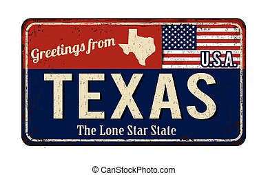 Greetings from Texas vintage rusty metal sign on a white ...