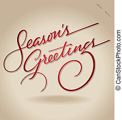 Greetings hand lettering (vector) - 'Season's Greetings'...