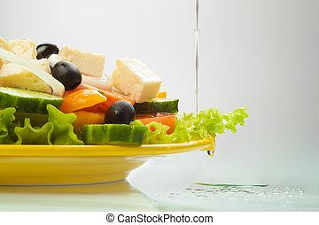 grego, óleo, salada, fluir