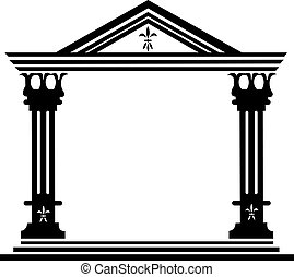 grego, antiga, colunas