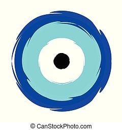 grego, azul, olho mal, vetorial