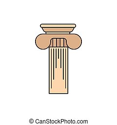 grego, coluna, ícone, caricatura, estilo