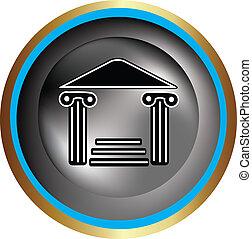 grego, coluna, ícone