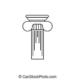 grego, coluna, ícone, esboço, estilo