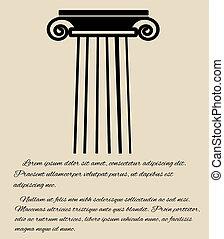grego, coluna, cartaz