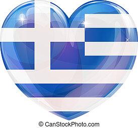 grego, coração, bandeira