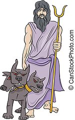 grego, hades, caricatura, ilustração, deus