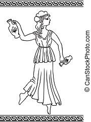 grego, mulher, com, amphoras