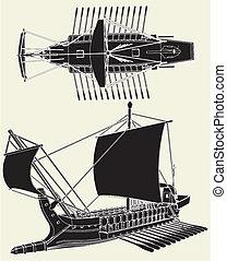 grego, navio, antiga