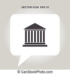 grego, predios, vetorial, ícone