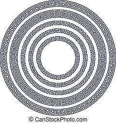 grego, quadro, redondo, padrão