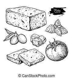 grego, queijo feta, bloco, fatia, drawing., vetorial, mão,...