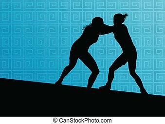 grego, romana, wrestling, ativo, mulheres jovens, desporto, silhuetas, vetorial, abstratos, fundo, ilustração