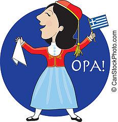 grego, senhora, dançar