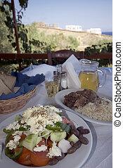 grego, sobre, taverna, almoço, vista mar