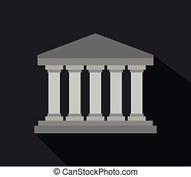 grego, templo, ícone