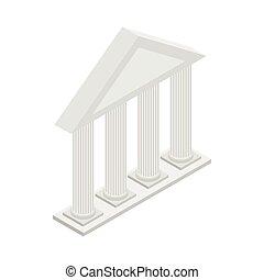 grego, templo, com, colunas, ícone, isometric, 3d, estilo