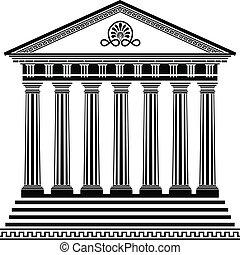 grego, templo, estêncil, segundo, variante