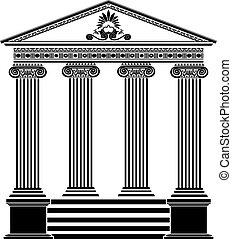 grego, templo, estêncil