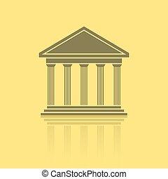 grego, templo, frente
