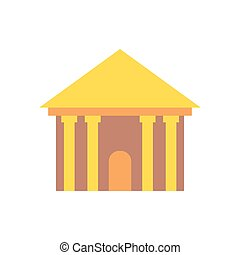 grego, templo, isolated., palácio, com, columns., antiga, arquitetura, predios