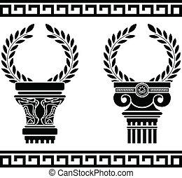 grego, wreaths., estêncil, colunas