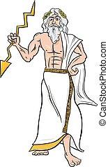 grego, zeus, caricatura, ilustração, deus