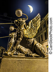 greife, nacht, str.. petersburg, kanal, über, griboyedov, brücke, bank, mondschein