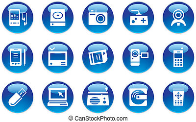 grej, sätta, elektronisk, ikonen
