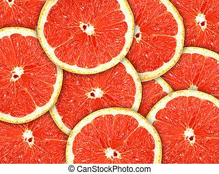 grejpfrut, citrus-fruit, tło, kromki