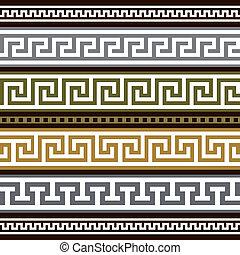 grek, brzegi, wektor, komplet