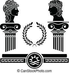 grek, głowy, kolumny, ludzki